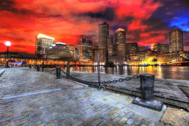 Boston Cityscape at Night 01 - Stock Photography