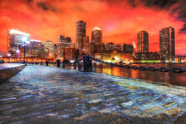 Boston Cityscape at Night 02 - Stock Photography