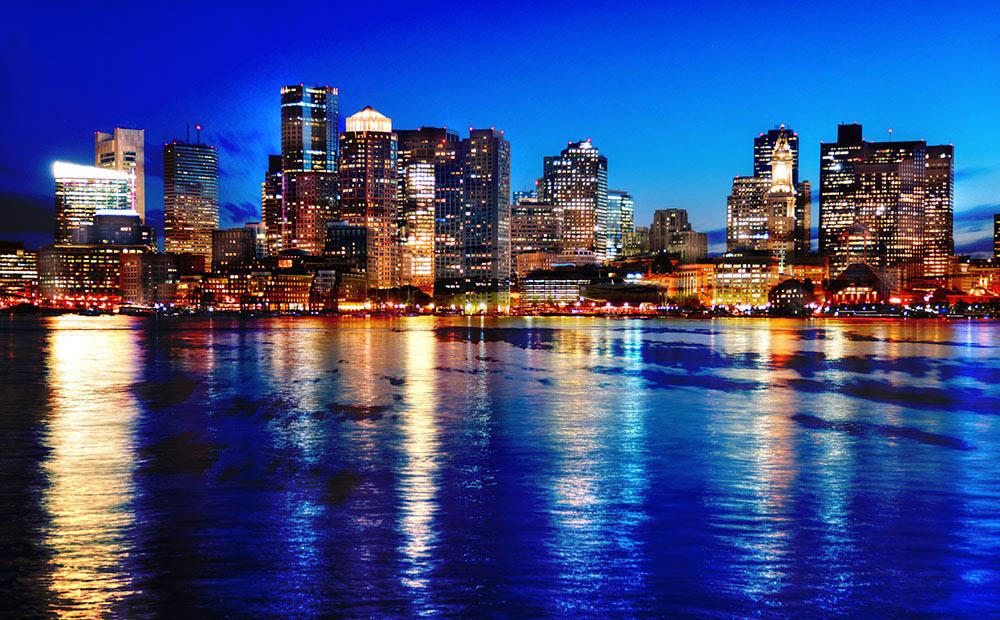 Boston Cityscape at Night 03 - Stock Photography