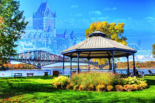 Quebec City Park and Bridge - Stock Photography