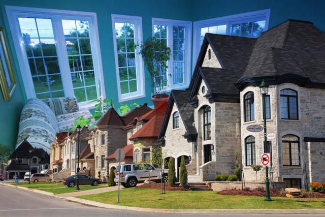 Cozy Neighborhood Photo Montage - Stock Photography