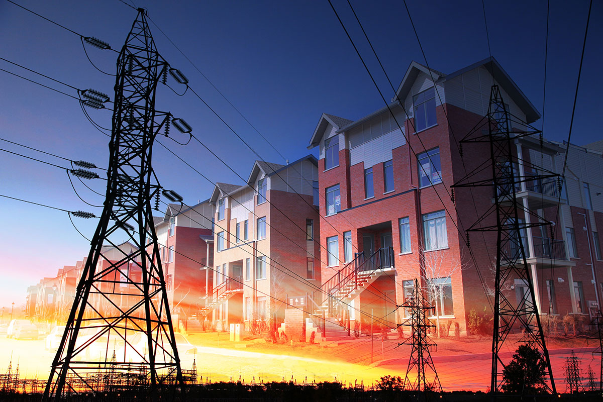 Domestic Energy Lines Photo Montage - Stock Photography