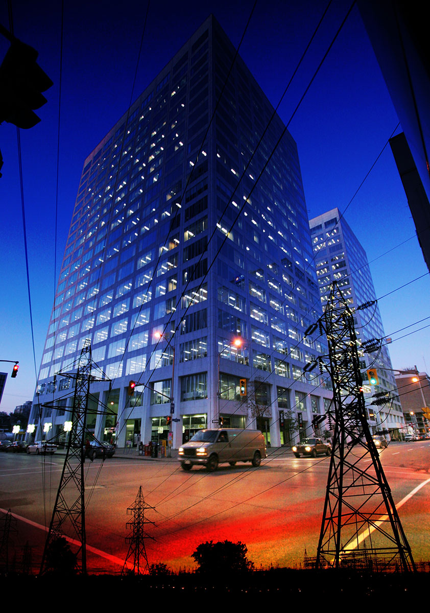 Downtown Electricity Supply Photo Montage - Stock Photography