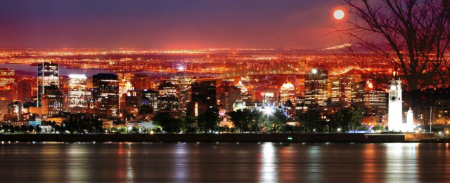 Montreal Skyline in a Beautiful Night - Stock Photography