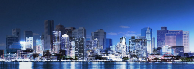 Panoramic Boston City Photo Montage - Stock Photography