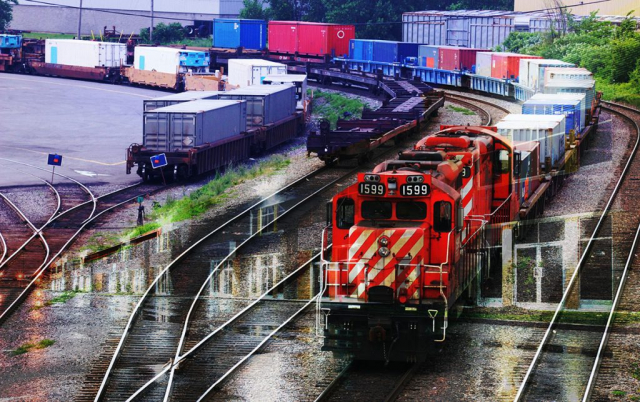 Railroad Transport Concept Photo Montage 01 - Stock Photography