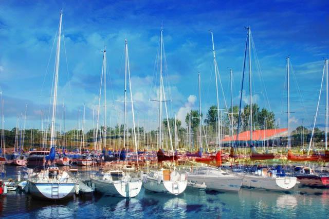 Sail Boats Marina Photo Montage - Stock Photography