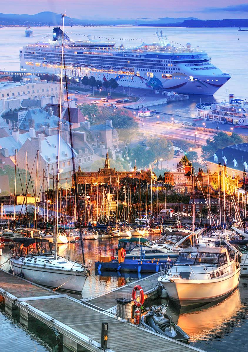 Urban Marina and Dock Photo Montage - Stock Photography