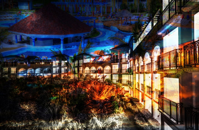 Caribbean Hotel Photo Montage - Stock Photography