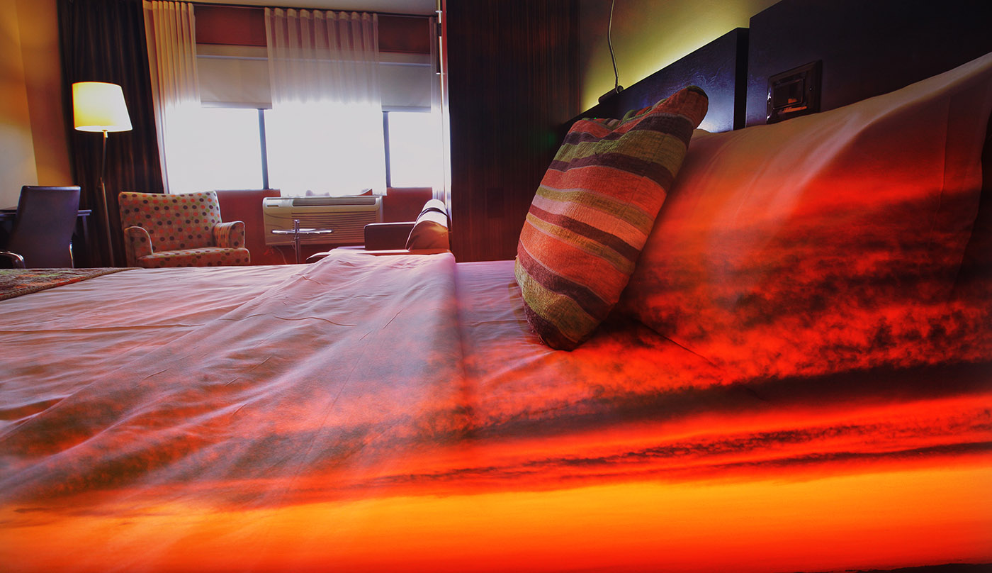 Sunset Bed Cover 1 - Stock Photography