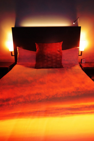 Sunset Bed Cover 2 - Stock Photography