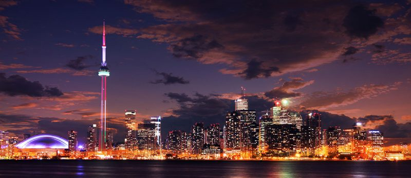 Toronto City Nighttime Skyline Stock Photo