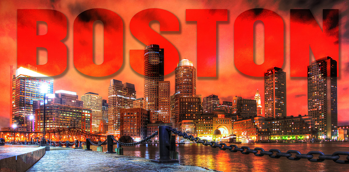 Boston City with Text 1 - Stock Photography