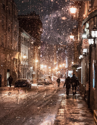 Bad Winter Weather in City Street - Stock Photography