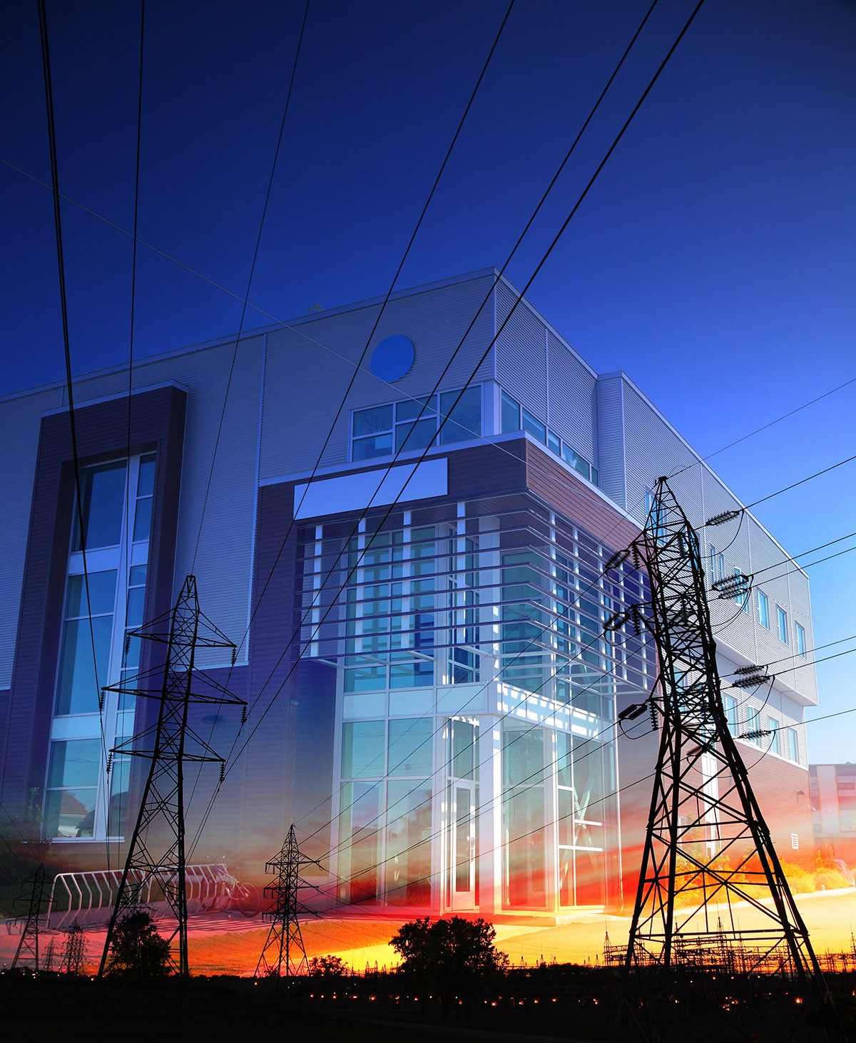 Office Building with Electric Pylons Photo Montage - Stock Photography
