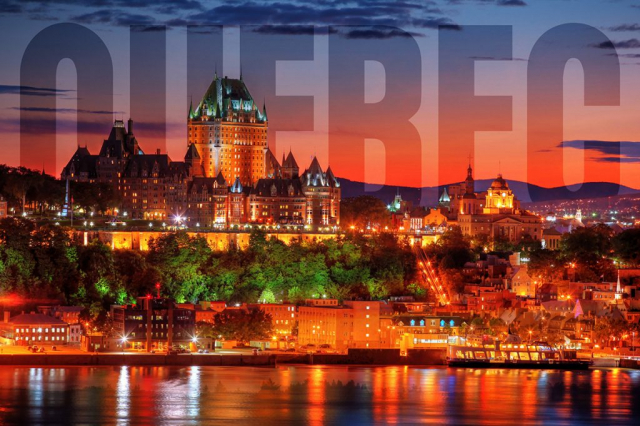 Quebec Frontenac Castle Montage with Text 02 - Stock Photography
