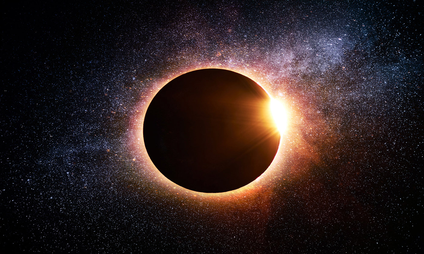 Solar Eclipse in Space - Stock Photography