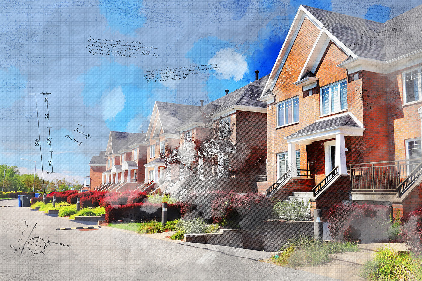 Colorful Urban Houses Sketch Image - Stock Photography