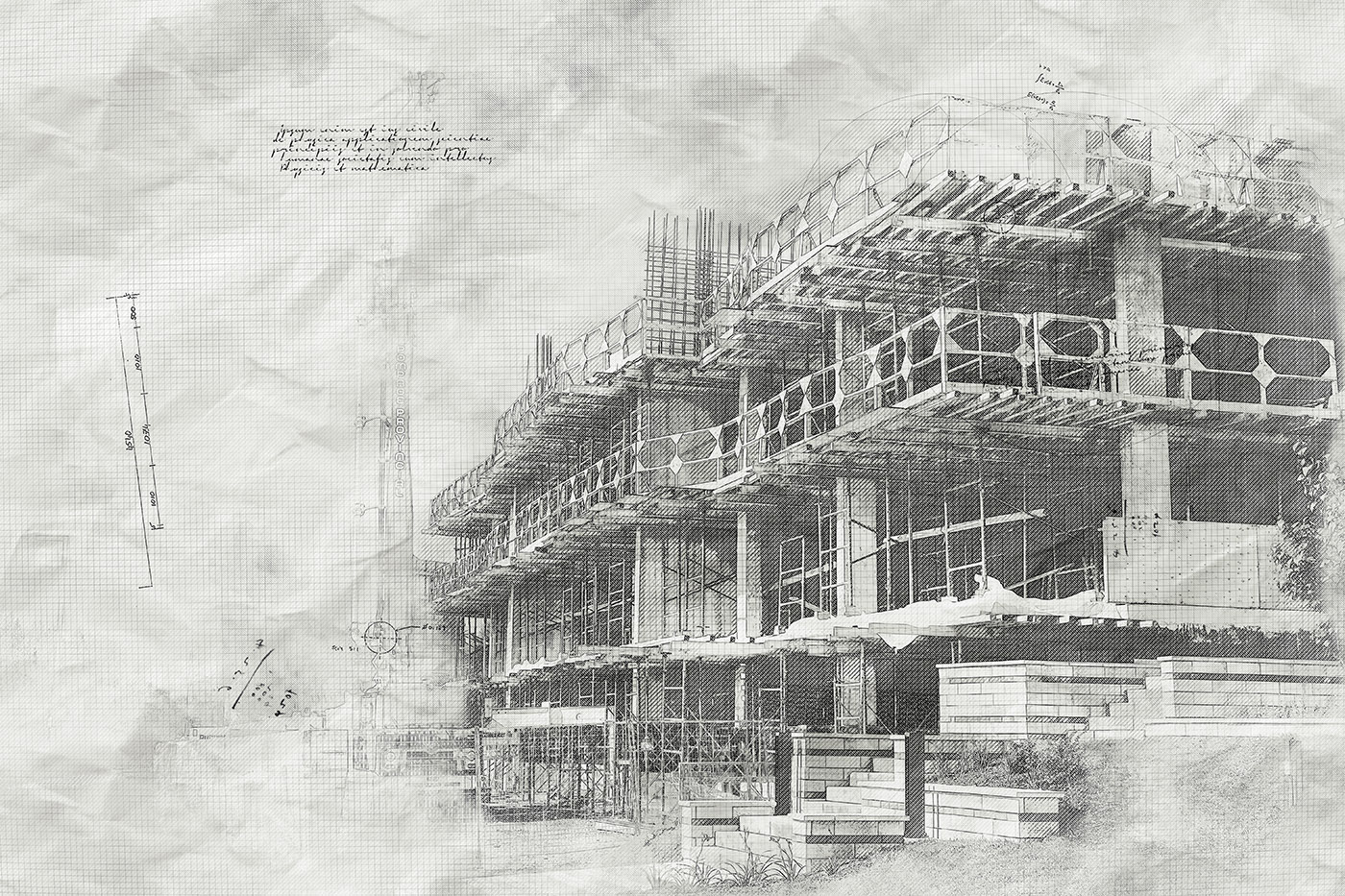 Construction Project Sketch B&W Image - Stock Photography