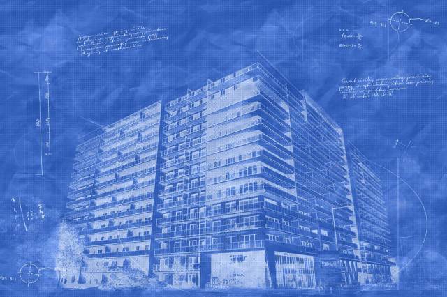 Large Condominium Building Sketch Blueprint Image - Stock Photography