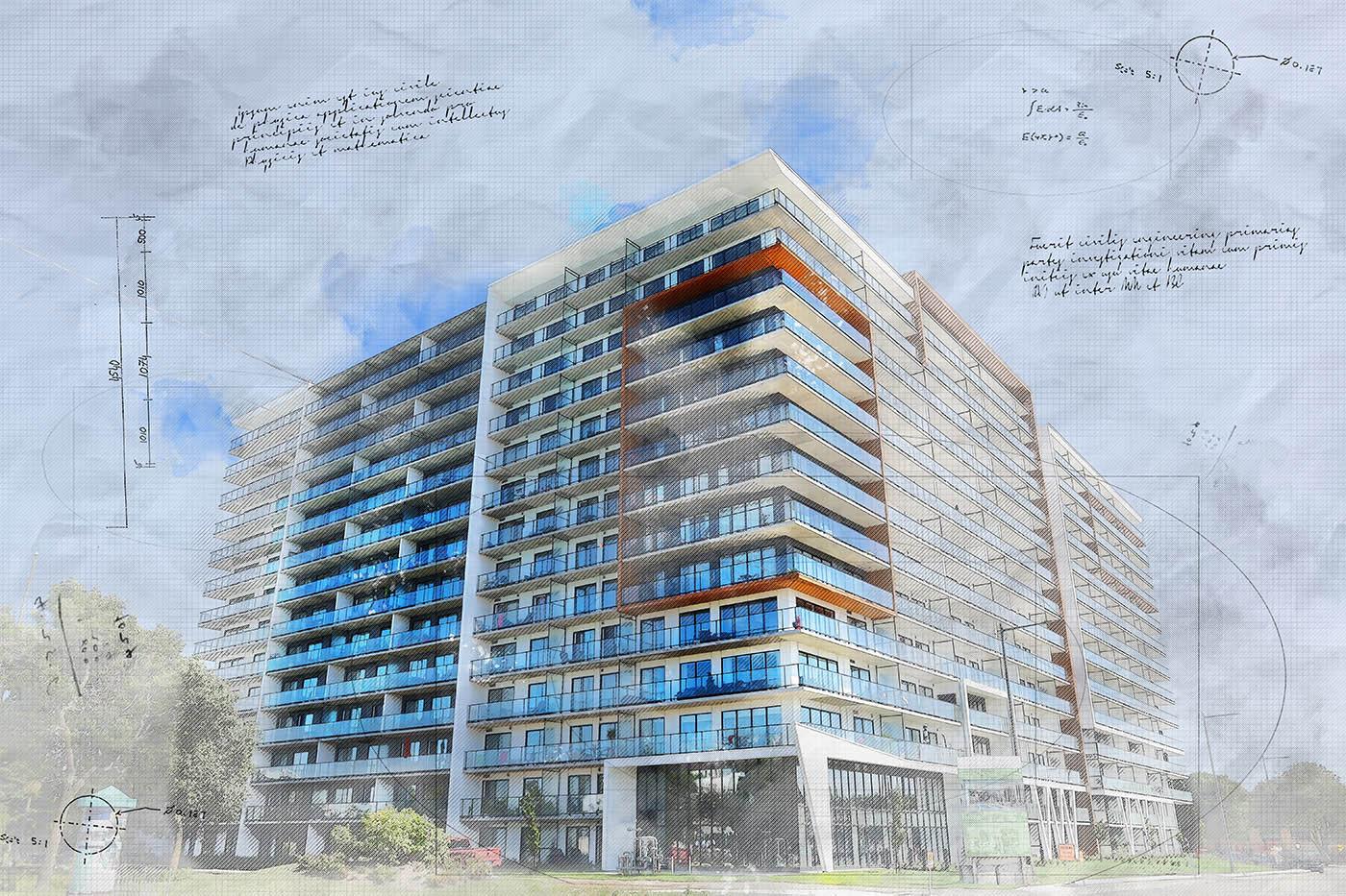 Large Condominium Building Sketch Image - Stock Photography