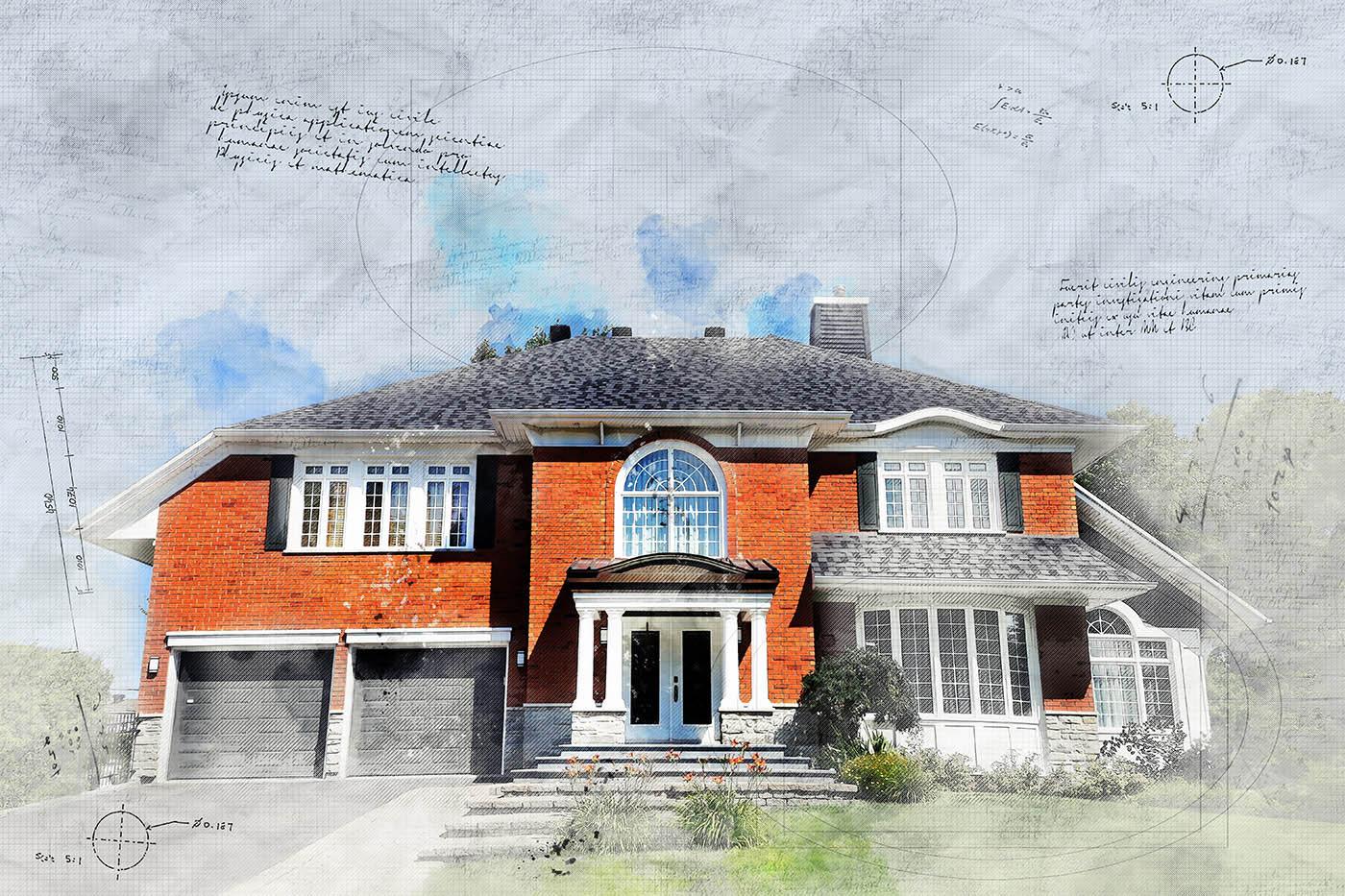 Large Luxury Habitation Sketch Image - Stock Photography