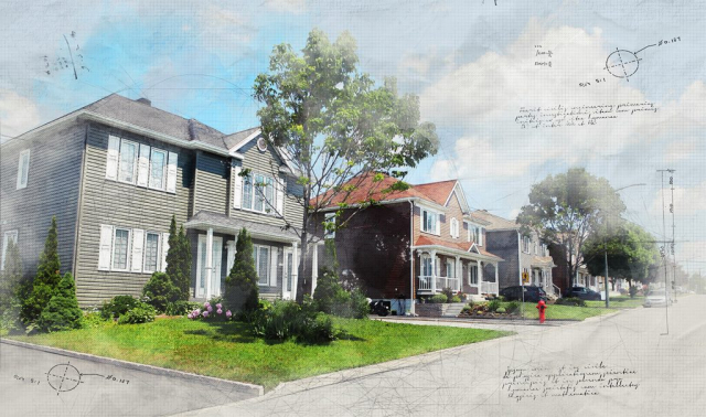 Modern Residential Neighborhood Sketch Image - Stock Photography