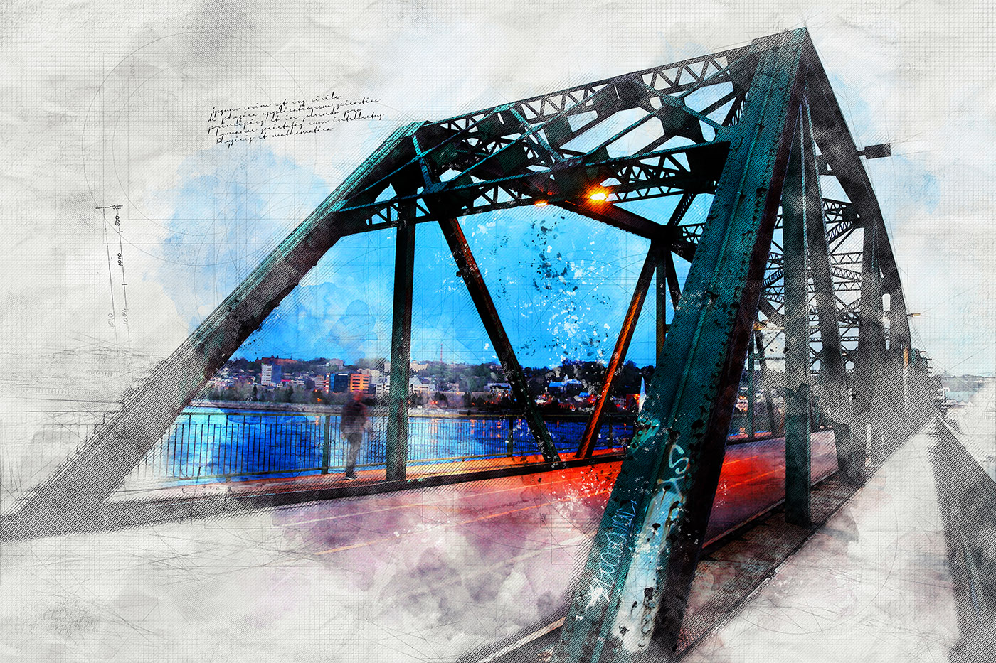 Old Bridge over the Saguenay River Sketch Image - Stock Photography