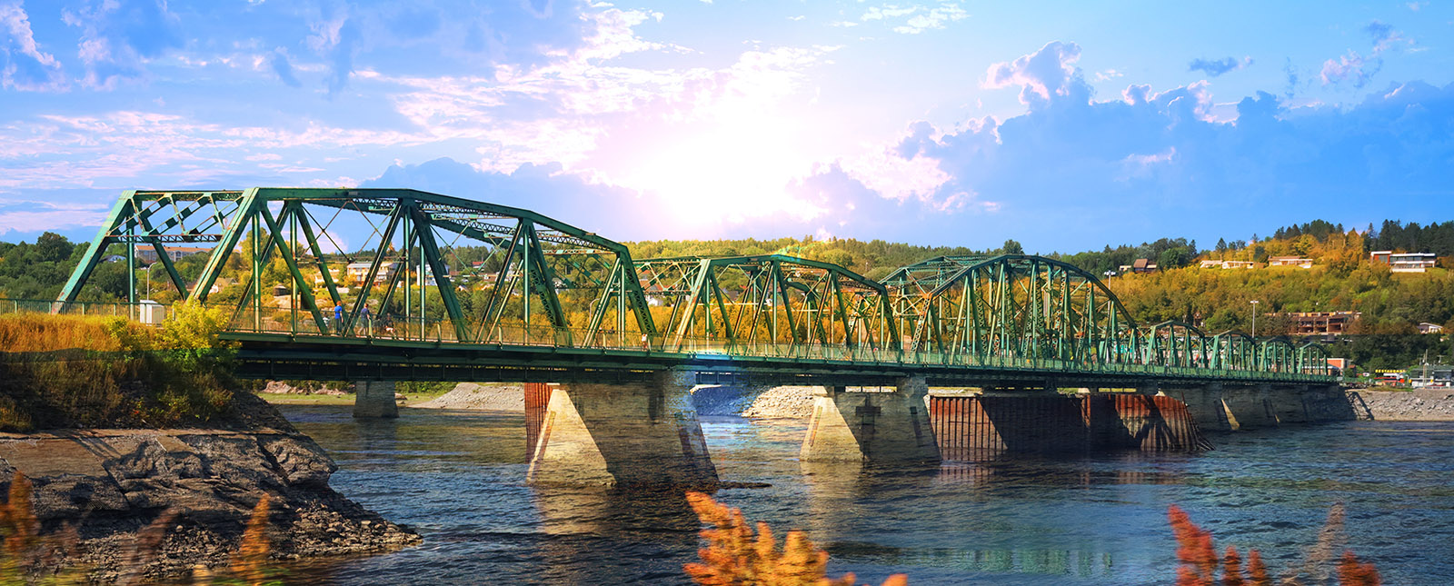 Old Saguenay Bridge and River - Stock Photography