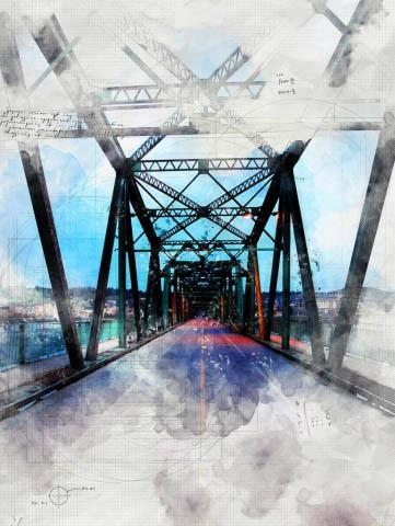Old Saguenay City Bridge Sketch Image - Stock Photography