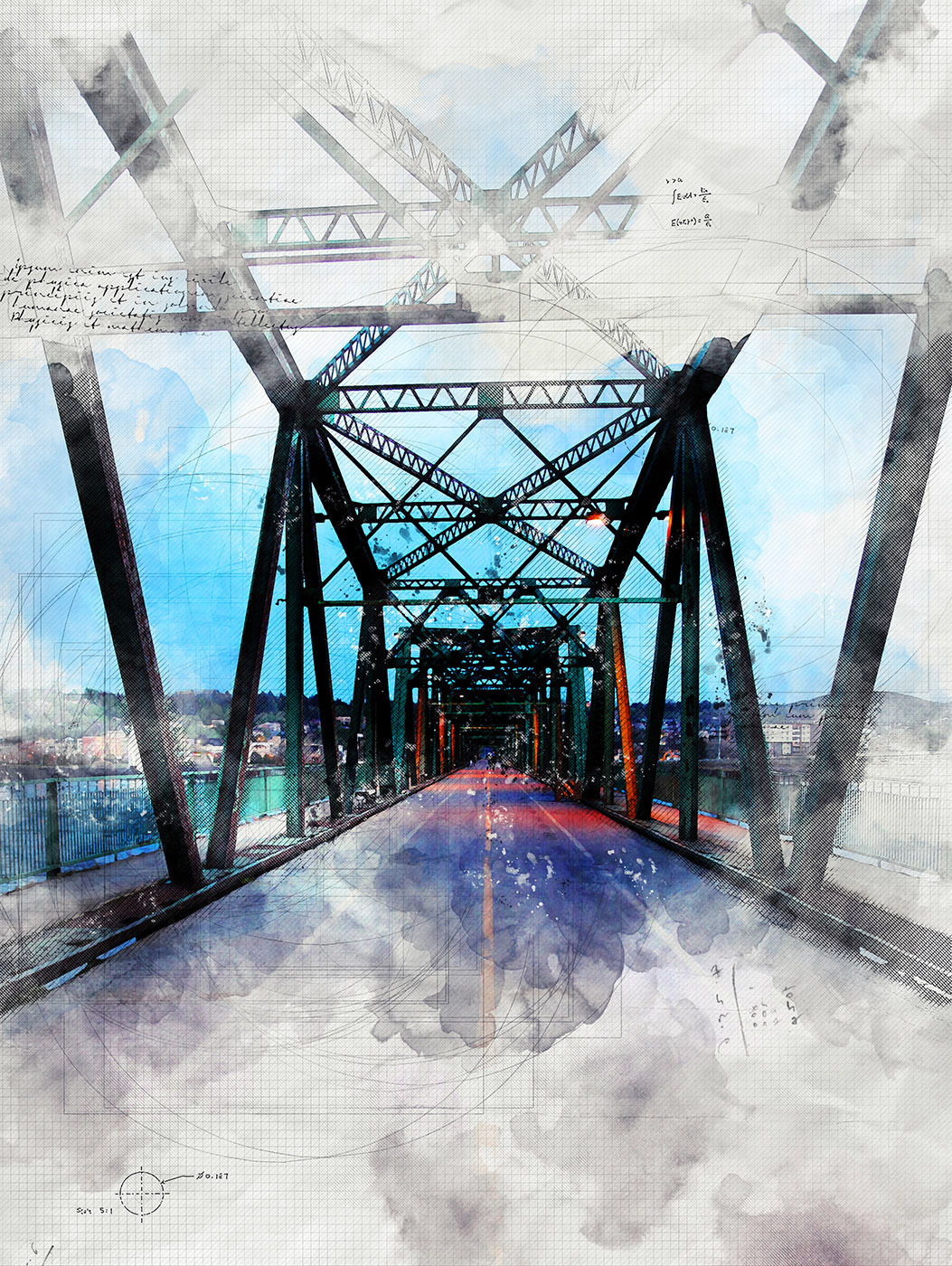 Old Saguenay City Bridge Sketch Image - Stock Photography