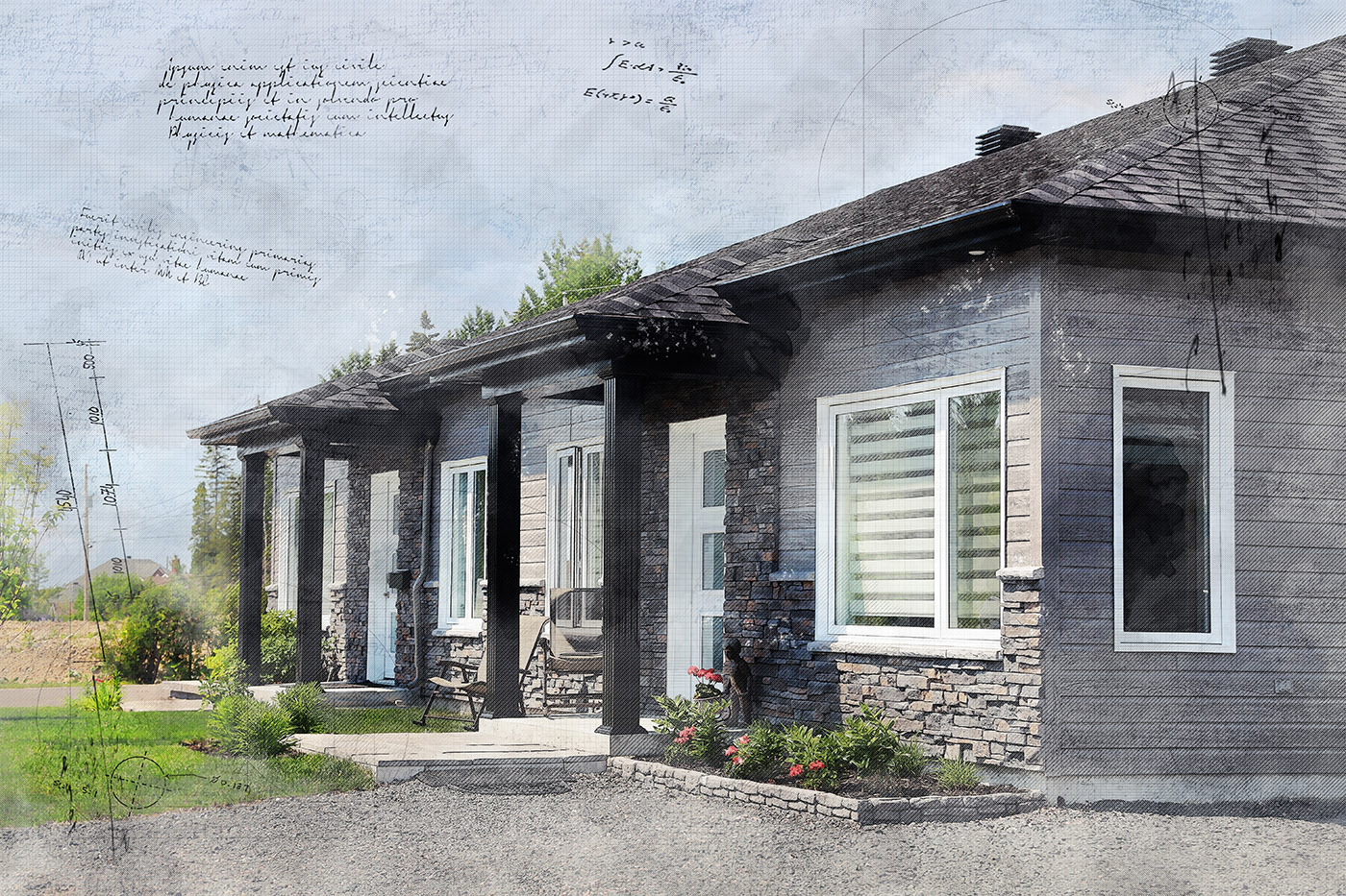 Semi Detached House Sketch Image - Stock Photography