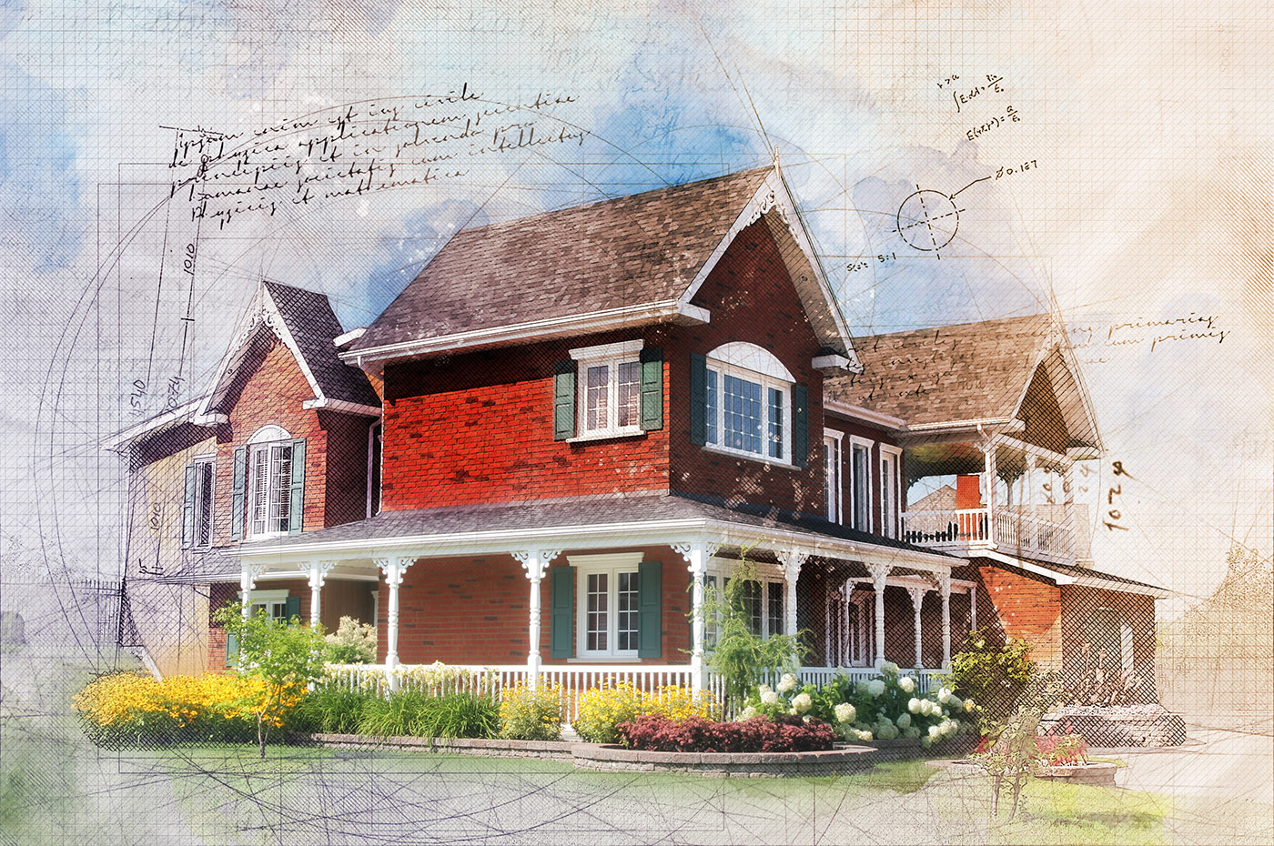 Beautiful Cottage Sketch Image - Stock Photography