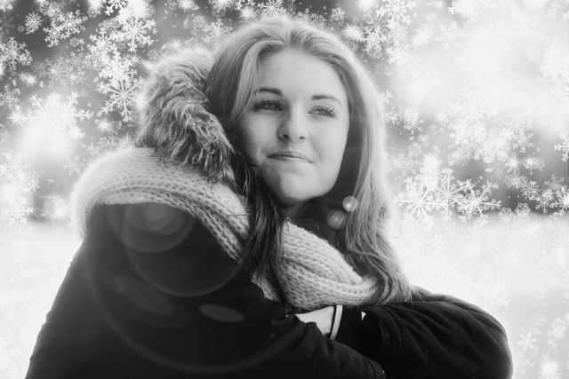 Pretty Woman in Snowy Winter Stock Photo Montage - Stock Photography