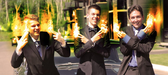 Young Men with Fingers on Fire - Stock Photography