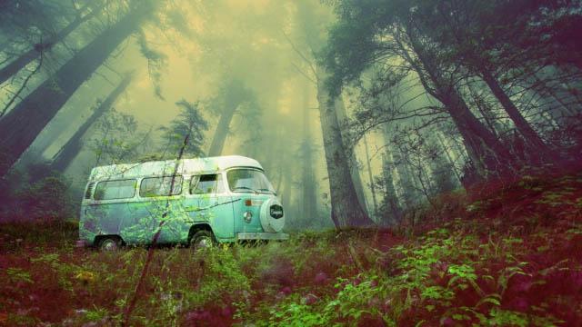 Vintage VW Camper Van Road Trip 03 - Stock Photography