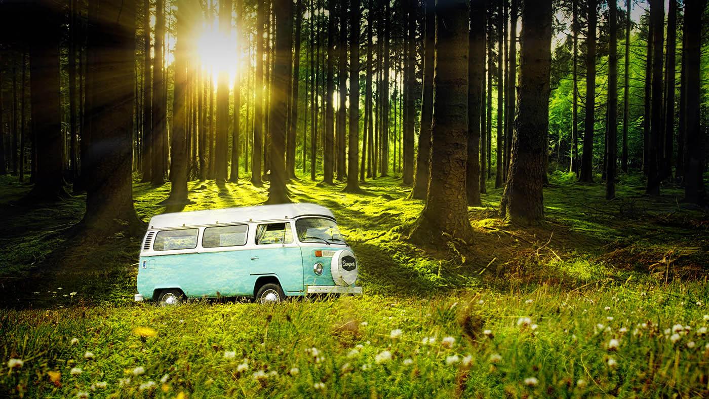 Vintage VW Camper Van Road Trip 04 - Stock Photography