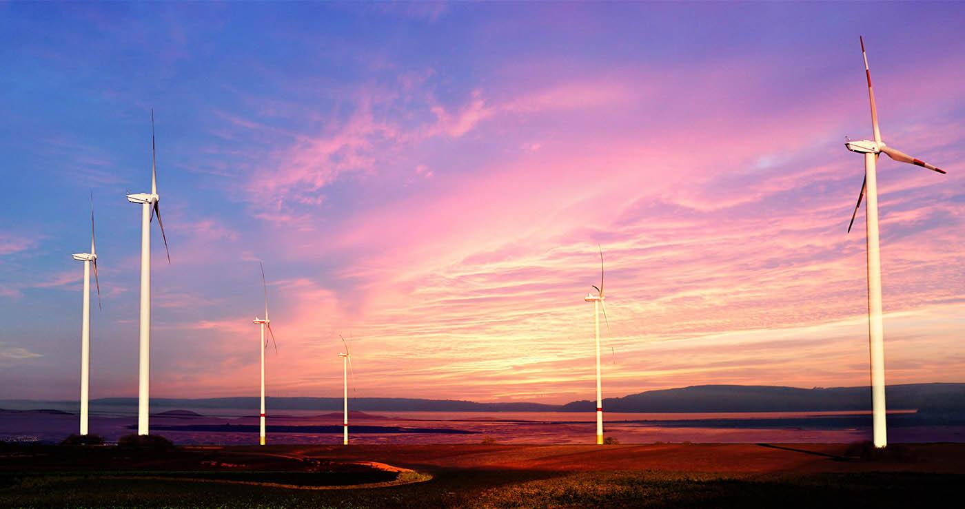 Windmills at Sunset 01 - Stock Photography