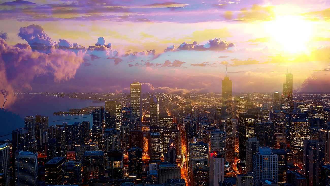 Beautiful Chicago City at Night 01 - Stock Photography