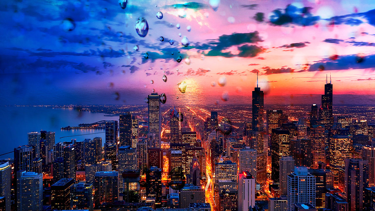 Beautiful Chicago City at Night 02 - Stock Photography
