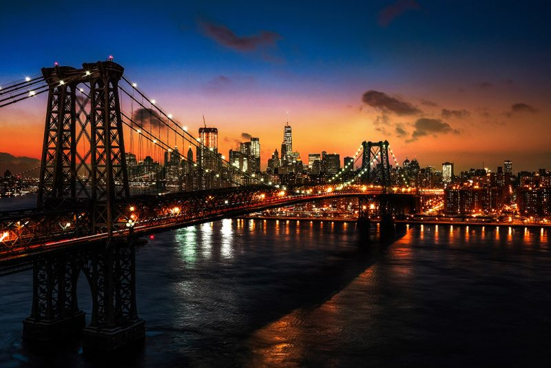 Colorful Sunset over the NYC Williamsburg Bridge 01