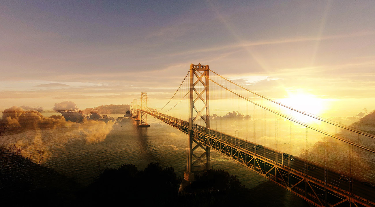 Surreal Suspension Bridge 02 - Stock Photography