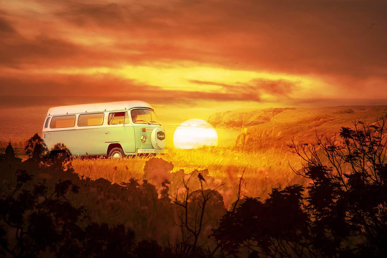 Vintage VW Camper Van Road Trip 05 - Stock Photography