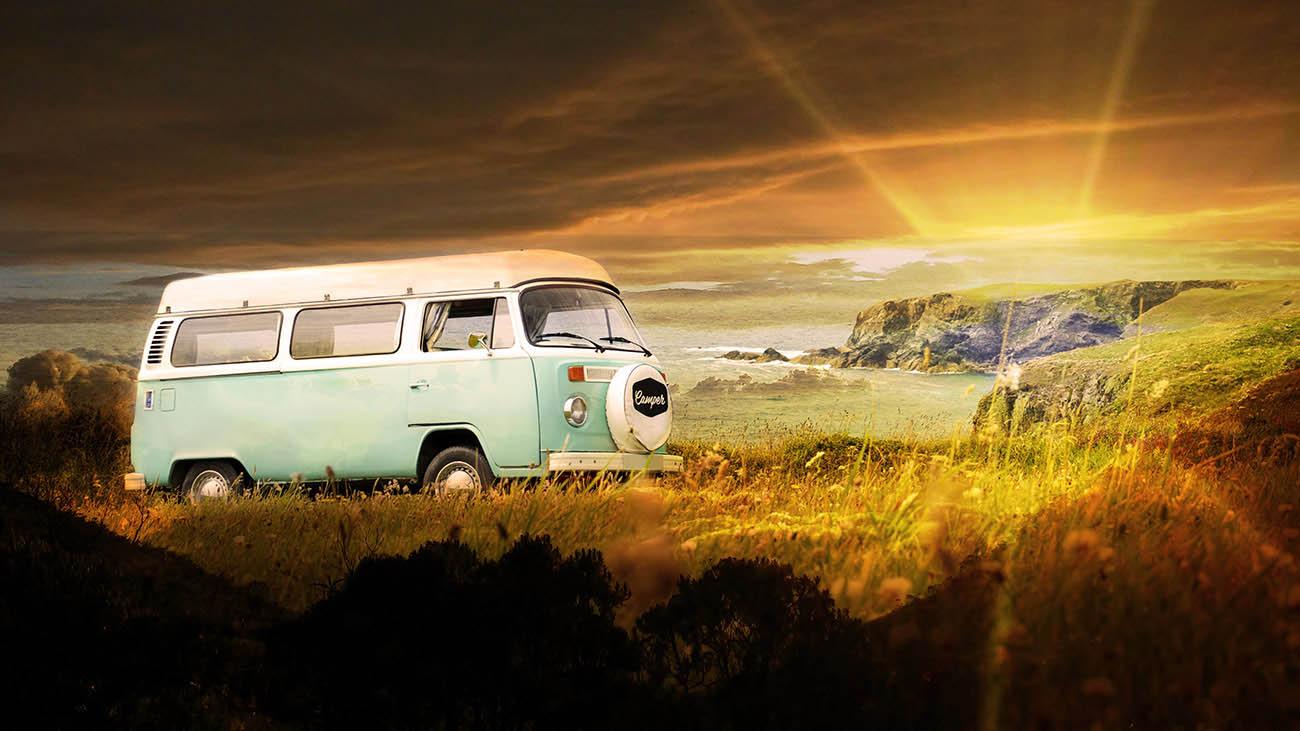 Vintage VW Camper Van Road Trip 06 - Stock Photography