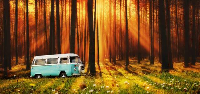 Vintage VW Camper Van Road Trip - Stock Photography
