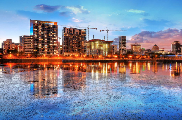 2020 Colorful Downtown Montreal Cityscape at Sunset - Stock Photography