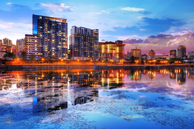 2020 Downtown Montreal City Water Reflection at Sunset - Stock Photography
