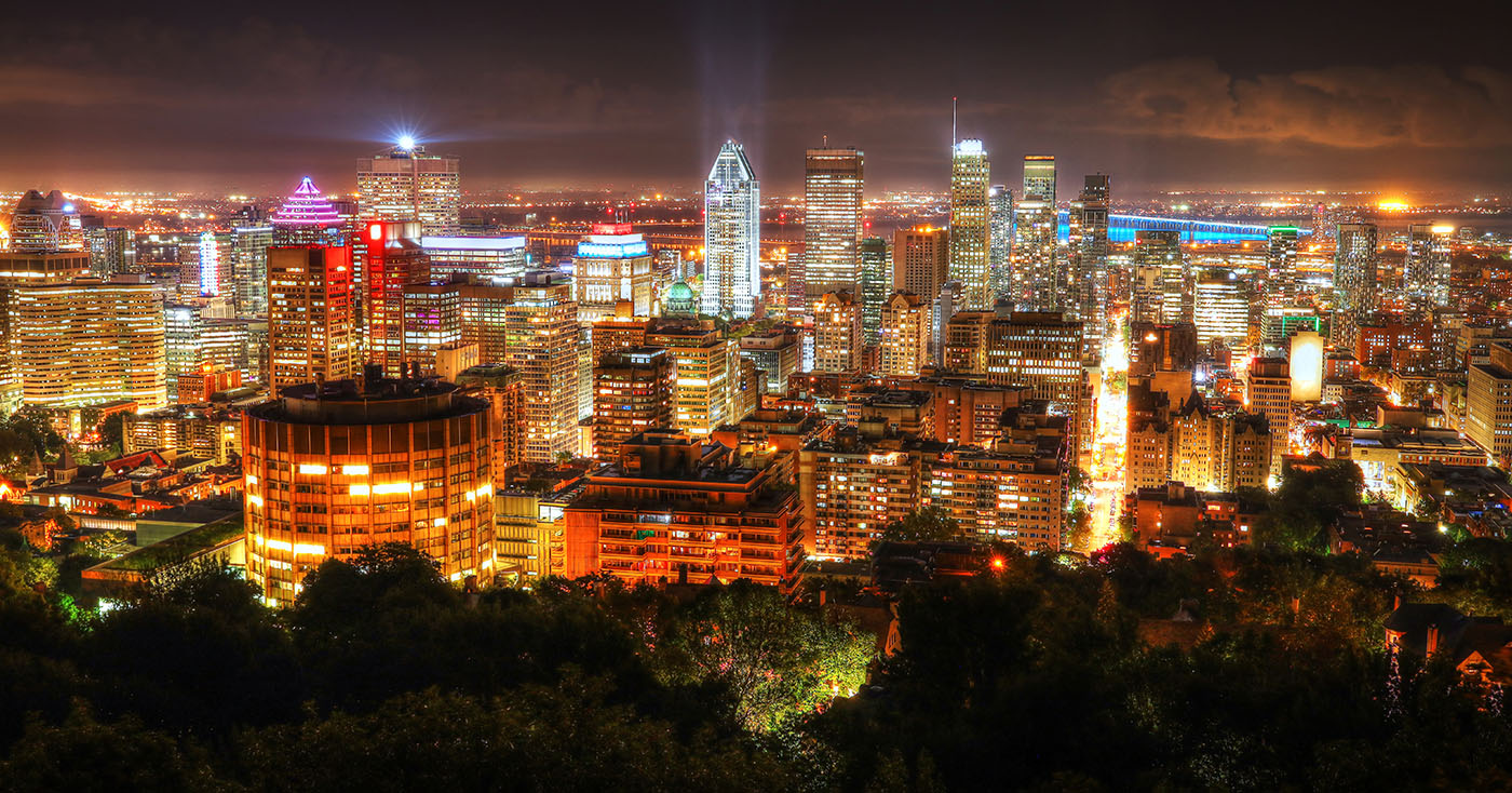 2020 Montreal City Sight at Night From Mount Royal Lookout - Stock Photography