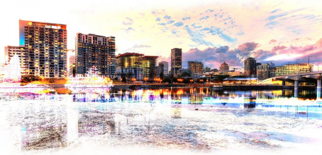 2020 Montreal Cityscape with Colorful Special Effect - Stock Photography