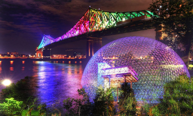 Montreal Jacques Cartier Bridge and Biosphere at Night Photo Montage - Stock Photography